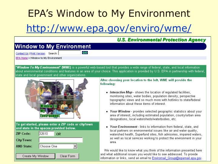 EPA's Window to My Environment