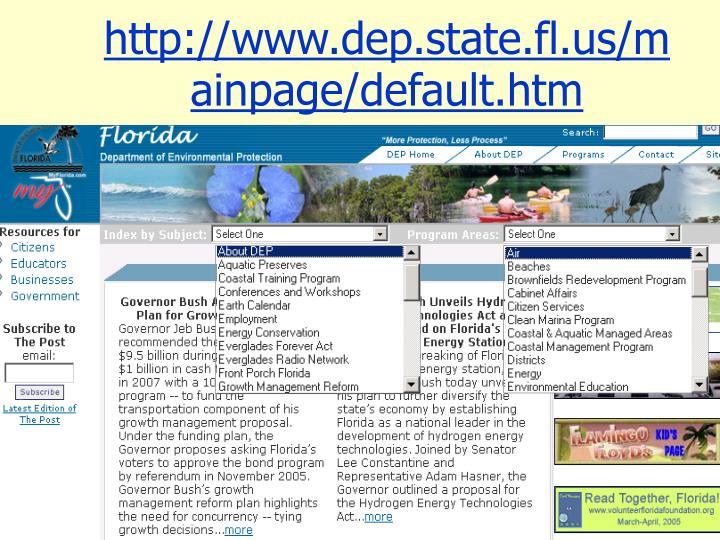 http://www.dep.state.fl.us/mainpage/default.htm