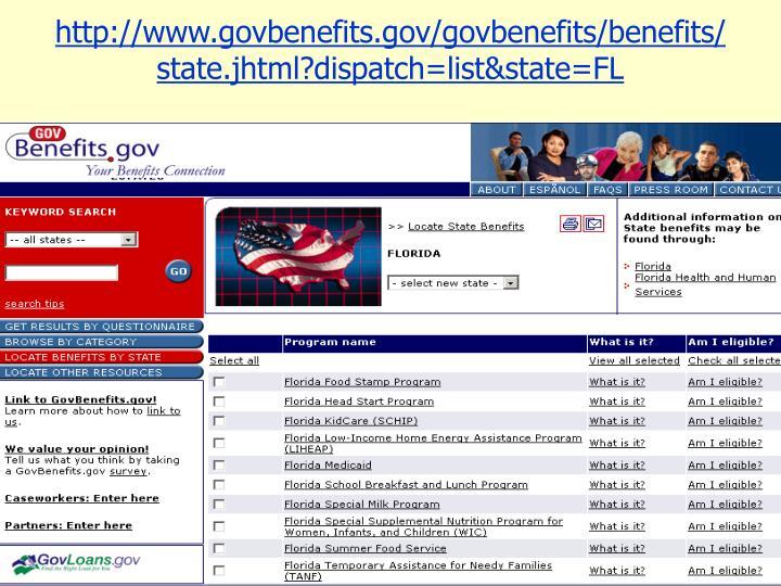http://www.govbenefits.gov/govbenefits/benefits/state.jhtml?dispatch=list&state=FL