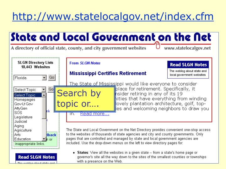 http://www.statelocalgov.net/index.cfm