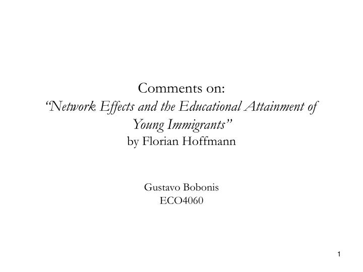 Comments on network effects and the educational attainment of young immigrants by florian hoffmann