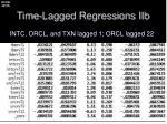 time lagged regressions iib