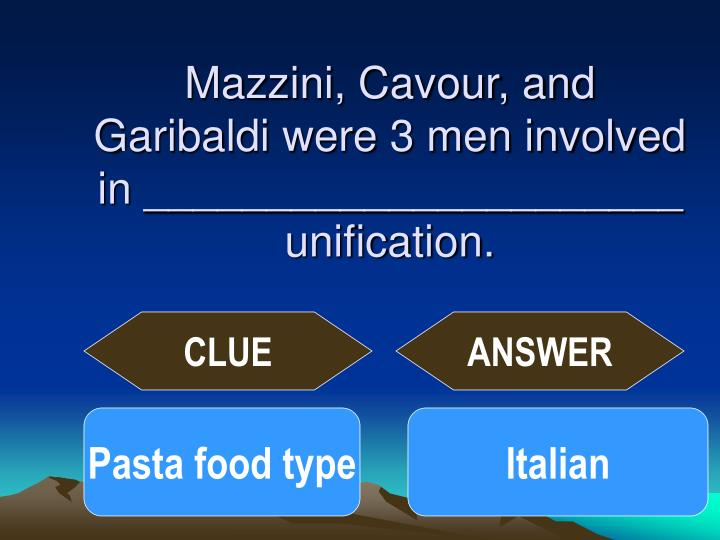 Mazzini, Cavour, and Garibaldi were 3 men involved in ______________________ unification.