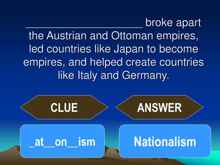 ___________________ broke apart the Austrian and Ottoman empires, led countries like Japan to become empires, and helped create countries like Italy and Germany.