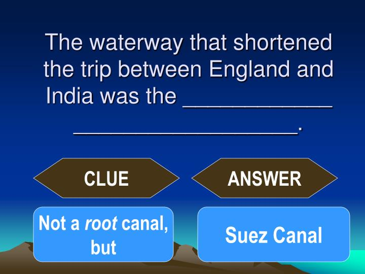 The waterway that shortened the trip between England and India was the ____________ __________________.