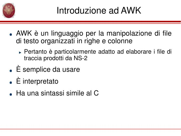 Introduzione ad awk