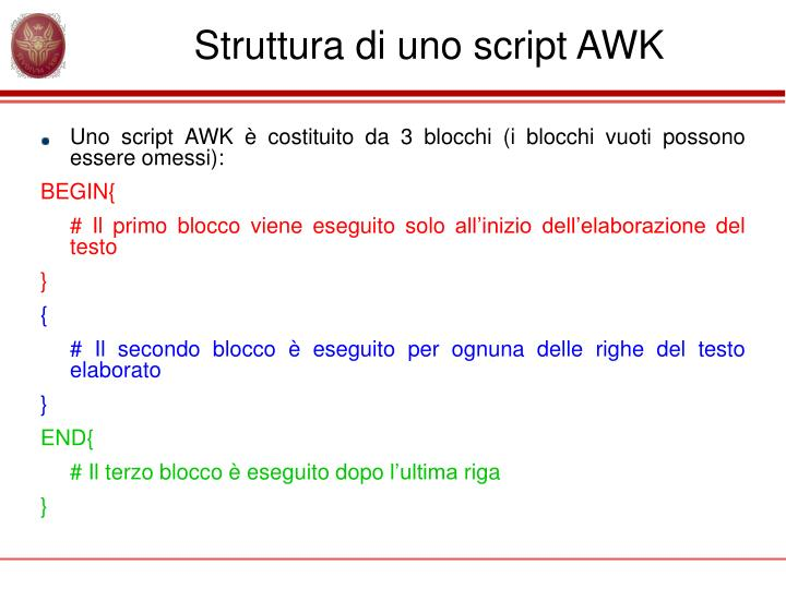 Struttura di uno script awk