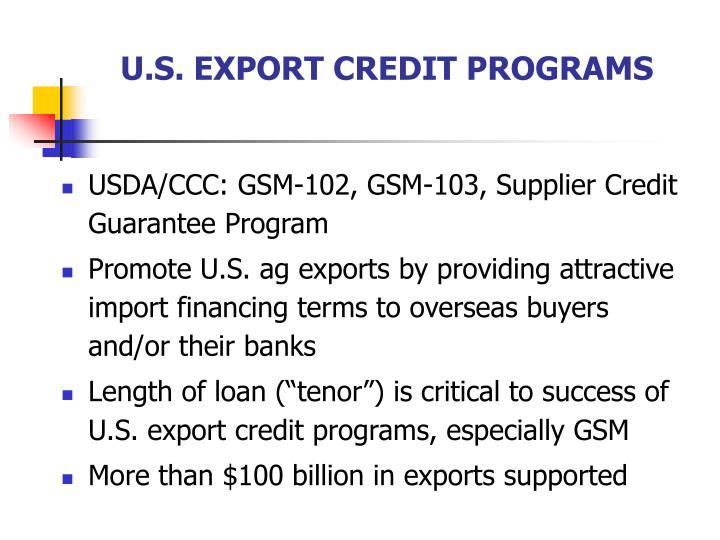 U.S. EXPORT CREDIT PROGRAMS