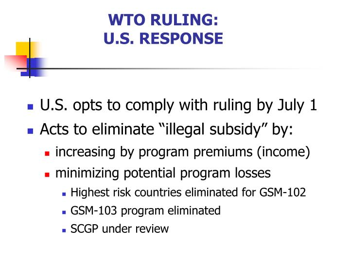 WTO RULING: