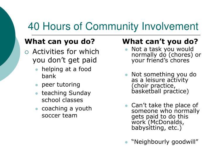 40 Hours of Community Involvement