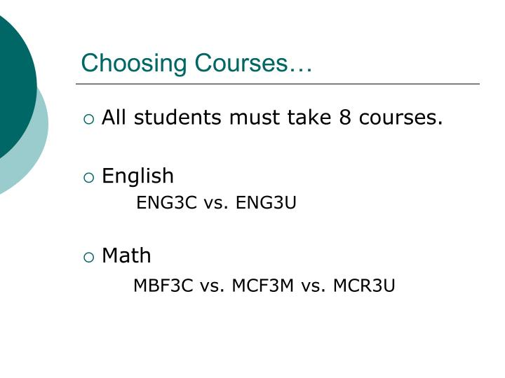 Choosing Courses…