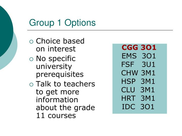 Group 1 Options