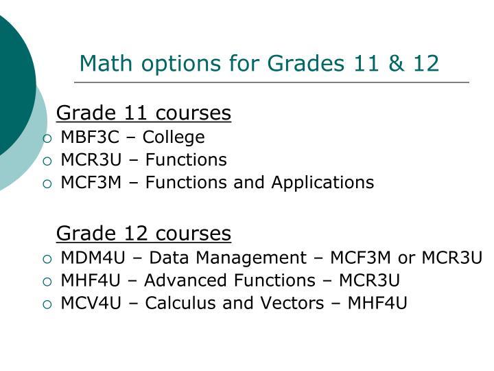 Math options for Grades 11 & 12