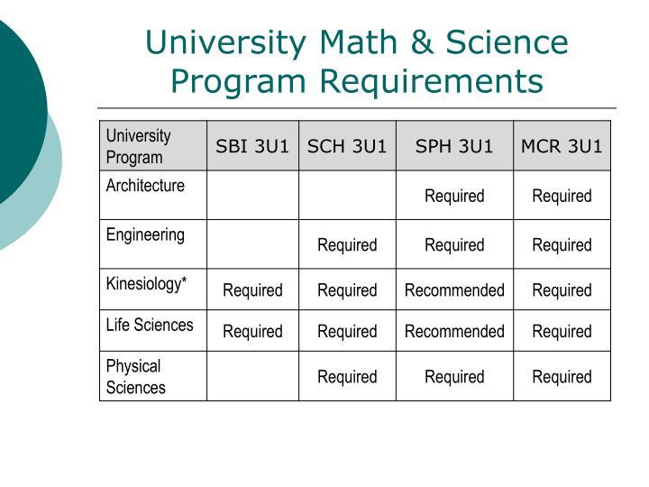 University Math & Science Program Requirements