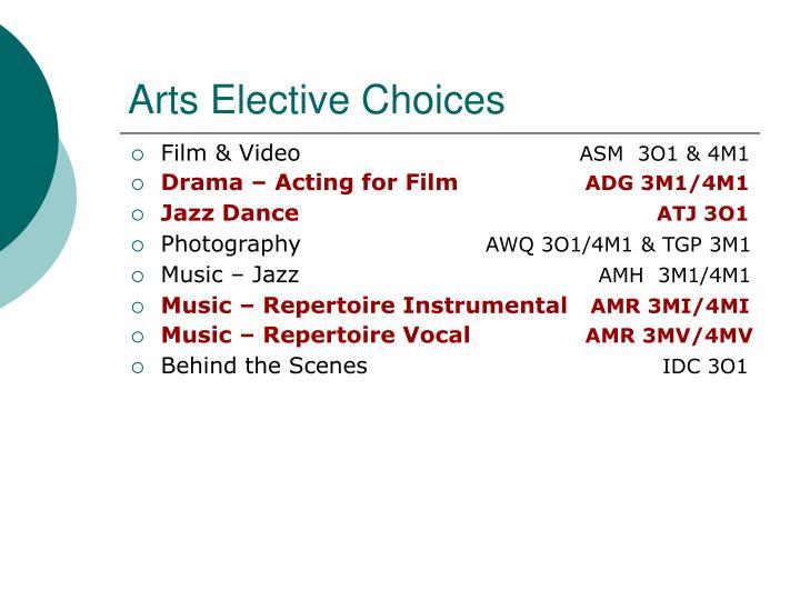Arts Elective Choices