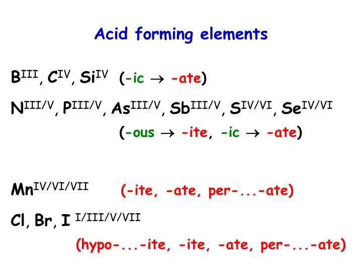 Acid forming elements
