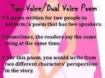 two voice dual voice poem