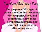 two voice dual voice poem1