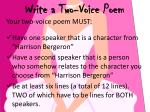 write a two voice poem