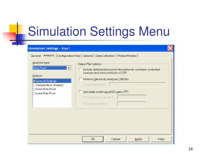 Simulation Settings Menu