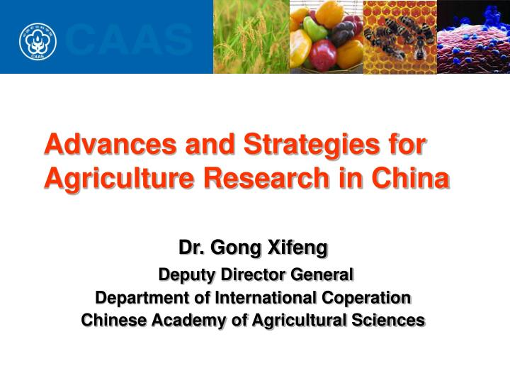 advances and strategies for agriculture research in china n.