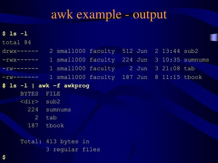 awk example - output
