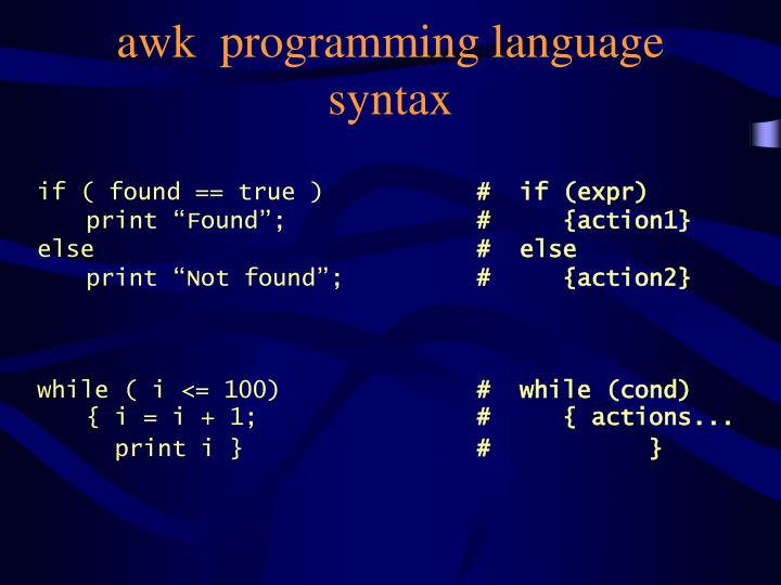 awk  programming language syntax