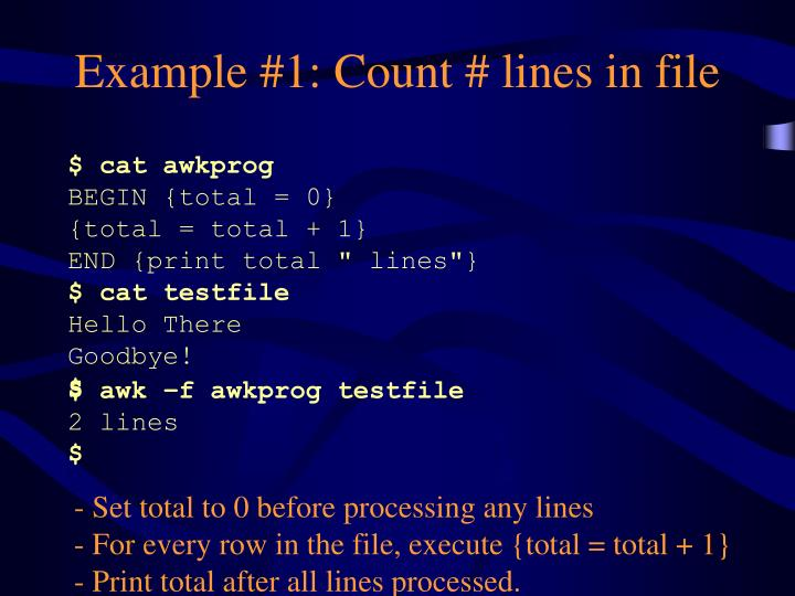 Example #1: Count # lines in file