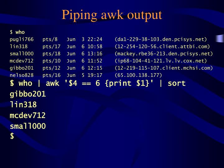 Piping awk output