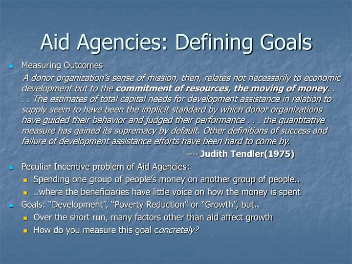 Aid Agencies: Defining Goals