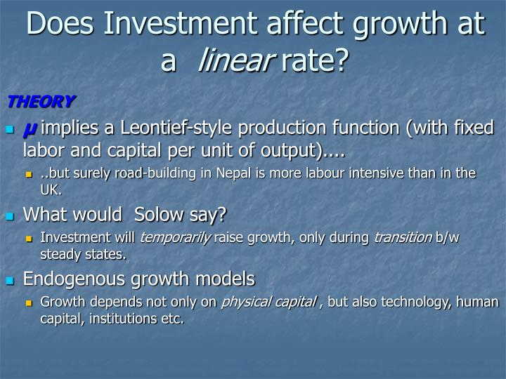 Does Investment affect growth at a
