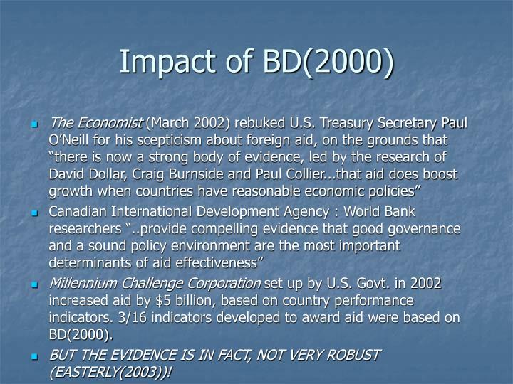 Impact of BD(2000)