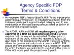 agency specific fdp terms conditions