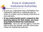 know understand institutional authorities