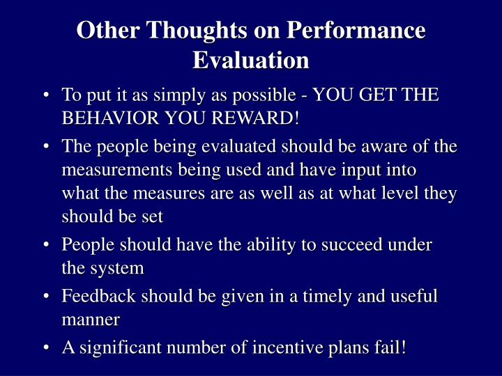 Other thoughts on performance evaluation