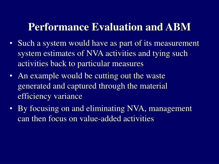 Performance evaluation and abm