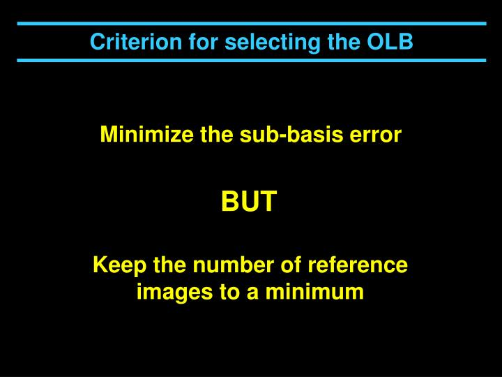 Criterion for selecting the OLB