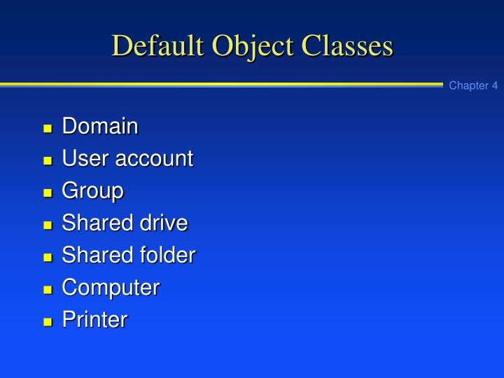 Default Object Classes