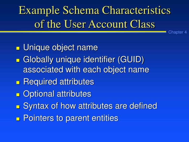 Example Schema Characteristics of the User Account Class