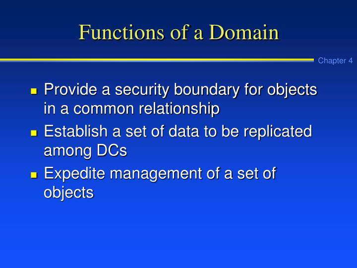 Functions of a Domain