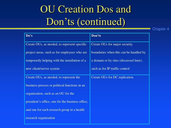 OU Creation Dos and