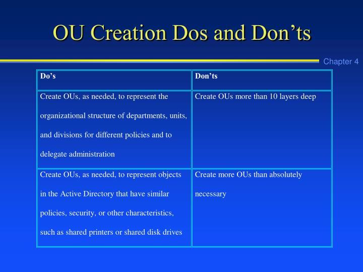 OU Creation Dos and Don'ts