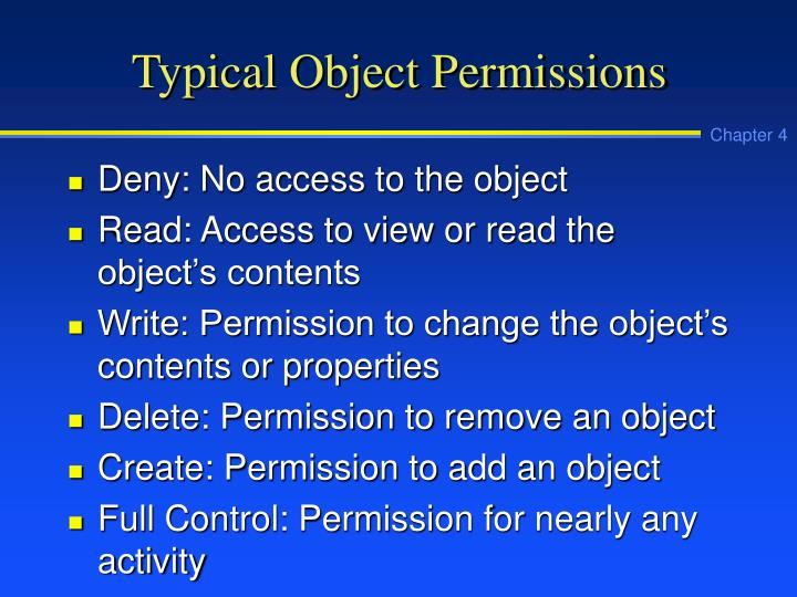 Typical Object Permissions
