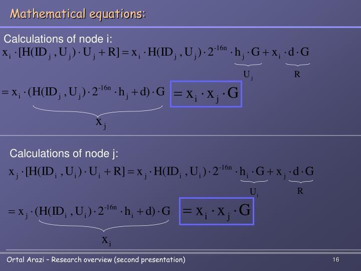 Mathematical equations: