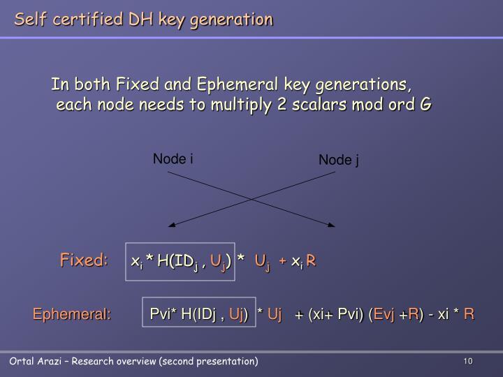Self certified DH key generation