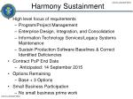 harmony sustainment