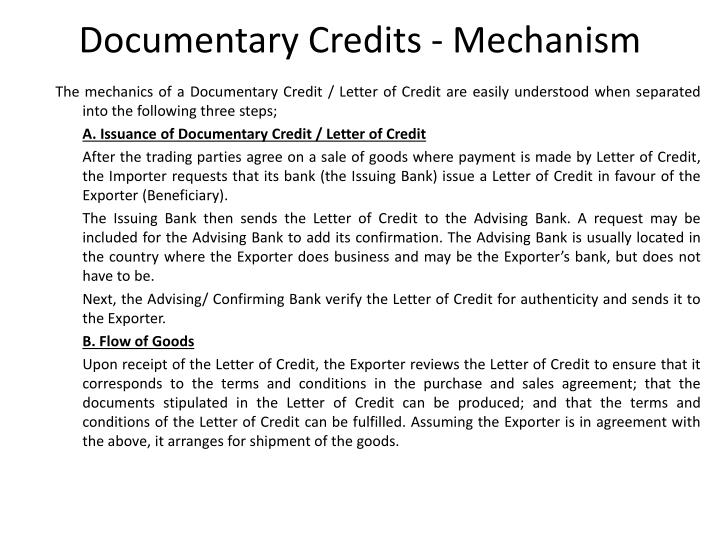 Documentary Credits - Mechanism