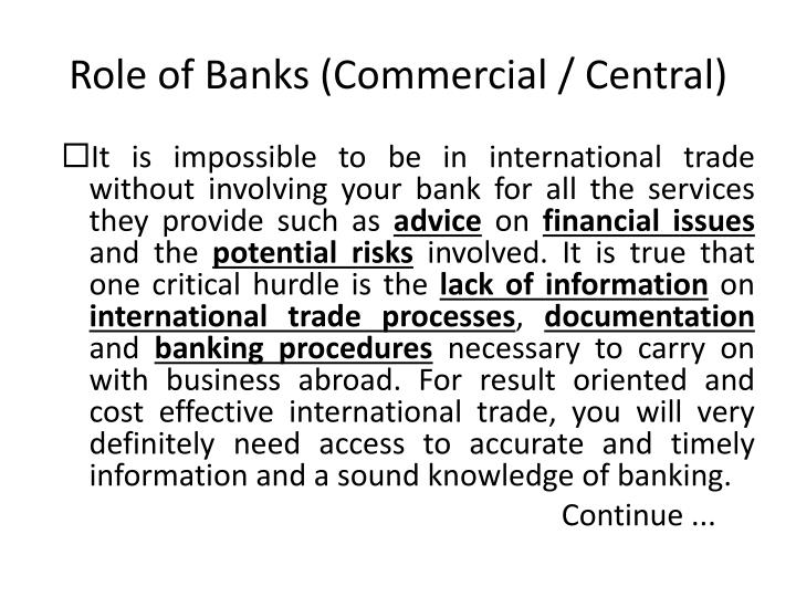 Role of banks commercial central