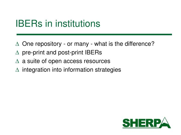 IBERs in institutions