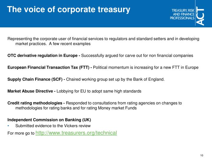 The voice of corporate treasury